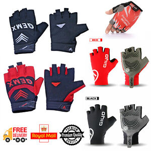 Men's Half Finger Cycling Gloves Gel Padded Finger Less Biking MTB BMX Sports UK