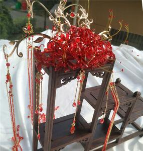 Elegant Lycoris Radiata Hanfu Cosplay Props Headwear Girl Flower Hair Stick