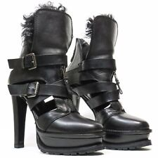 ETRO Runway Black Leather Shearling Platform Ankle Boots - Size 38 - Italy