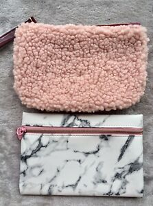 Pair Of Small Make-up Bags. New! Set Of 2. Free Shipping! Pink/White Marble