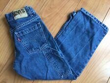Vintage Levi Boys Age 7 Workwear Carpenter Blue Denim Jeans 90's Skater