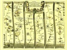 Bristol to Exeter inc. Wells, Taunton, Glastonbury  Replica 17c OGILBY Old  Map