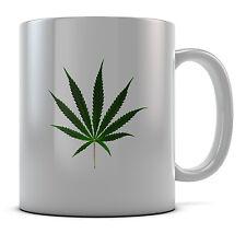 Hoja de cannabis Hierba Verde Taza Taza Presente Regalo Cumpleaños Café
