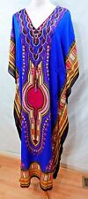 TRUE ROCK WOMEN PLUS ONE FREE SIZE MAXI LONG DASHIKI KAFTAN DRESS TUNIC BLUE 12