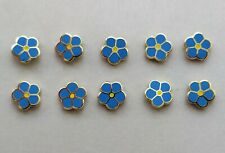 More details for ( 10x ) ✿ masonic 'forget me not' pin badge ✿ gold plated / enamel flower, lapel