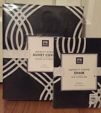 NEW Pottery Barn Teen Infinity Stripe TWIN Duvet & STANDARD Sham BLACK