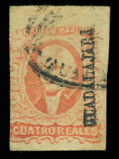 MEXICO 1856  HIDALGO  4r red - GUADALAJARA - district ovpt. Sc# 4 used VF