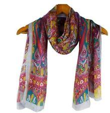 Silk Scarf Designer Style 109 green, Elegant Long Shawl Paisley Print 180x62 cm