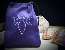 Sacchetto di velluto viola DEI TAROCCHI DEA E LUNA WICCA PAGAN magia divinazione