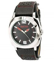 Kenneth Cole Men's Watch Reaction Black Dial Grey Leather Strap 10008536
