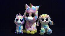Ty Beanie Boos Unicorns Large Tie Dye Fantasia Wishful Rainbow Poodle Lot Of 3