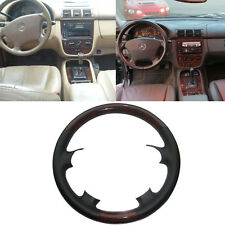 Black Leather Wood Steering Wheel Cover Protector Cap Mercedes 98-05 W163 ML M