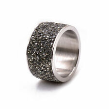 8-Row Micro Pave Gray Hematite Crystal Eternity Stainless Steel Ring Size 9