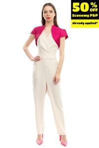 RRP €200 BETZZIA Bolero Size 42 / XXL Short Sleeve Open Front Stand Up Collar