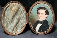 "Antique Miniature Hand Painted Portrait In Leather Case - 3/8"" By 2 3/8"
