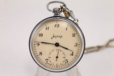 Excellent 1960's MOLNIA Open Face Pocket Watch 18 J USSR