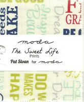 Moda 5 inch charms squares The Sweet Life words florals retro fabric