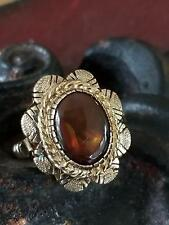 14K yellow gold vintage fire agat ring size 6.5 078618
