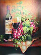 3D Lenticular Poster - Red WINE display - bottle & cup with grapes- 12x16 Print