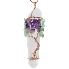 Rock Crystal Wire Wrapped Tree of Life Reiki Irregular Gemstone Jewelry Pendant