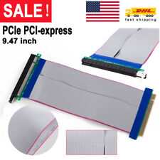 16x-16x Riser PCIE PCI-Express Extension Card Ribbon Extender Cable Powered Hot