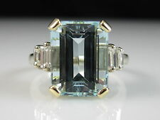 18K Aquamarine Diamond Ring Emerald Cut Two-Tone Fine Jewelry Aqua Size 7.5