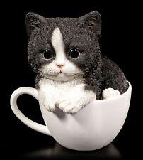 Katzen Figur - Schwarz-weißes Kätzchen in Tasse Deko Kitten