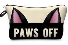MAKE UP BAG - zip up makeup purse Cat Ears Paws Off cosmetic pouch pencil case