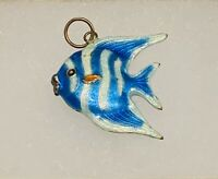 Vintage Sterling Silver Guilloche Enamel 2-Sided Angel Fish Charm Pendant
