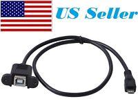50cm USB 2.0 B Female Socket Printer Panel Mount To Micro USB 5 Pin Male Cable