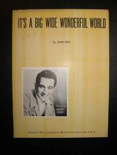 Its A Big Wide Wonderful World Sheet Music Vintage 1940 Perry Como John Rox (O)