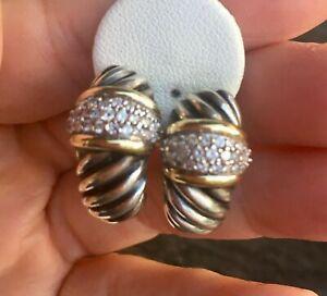 David Yurman Diamond 18k Yellow Gold Sterling Silver Shrimp Hoop Earrings