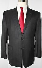 Hickey Freeman Madison Gray Striped Two Button Super 130s Wool Suit 42 L 35 30 1