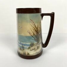 Vintage 1970s 1980s Beach Oil Painting Encased In Plastic Mug