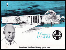 Santa Fe RAILROAD Dinner Menu EISENHOWER Presidential Library Train ABILENE1962