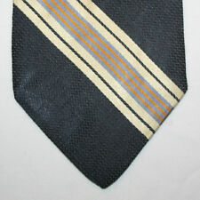 NEW Gap Silk Neck Tie Black with Light Yellow Gray and Orange Stripes 505