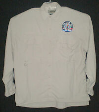 Men's Field & Stream Nylon Khaki Vented Long Sleeve Shirt L 30 MM HEAB Team Logo
