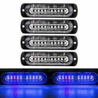 10 LED Truck Sidelight Strobe Work Light Blue Emergency Warning 12V / 24V