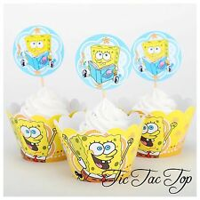 12 pcs Spongebob Yellow Cupcake Toppers + Wrappers. Party Boy Cake Jelly Cup