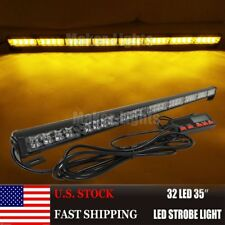"35"" 32 LED AMBER FLASH WRECKER TRAFFIC ADVISOR EMERGENCY WARN STROBE LIGHT BAR"