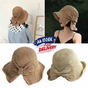 Bow Sun Hats Adjustable Beach Raffia Summer Wide Brim Visor Straw Women Floppy