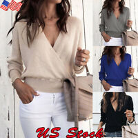 Womens Long Sleeve Knit V Neck Sweater Jumper Tops Ladies Loose Pullover Blouse