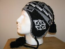 UNISEX KNITTED PERU HAT / FLEECE LINED BLACK ONE SIZE