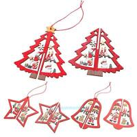3D Wooden Christmas Decoration Xmas Tree Ornaments Hanging Home Party Decor Gift
