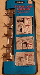New Old Stock Vtg Hold-All Brand Adjustable Sliding Metal Rack 5 Hooks Model H94