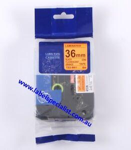 Brother TZ-B61 (TZe)-B61 compatible laminated36mm x 8m Black-on-Fluo OrangeTape
