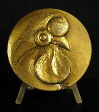 Médaille, 214g 72mm bronze Rooster head Tête de coq Repub Française Medal 铜牌雄鸡头
