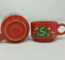 Waechtersbach Christmas Tree Demitasse Cup Set of 2 Mugs Flat Red Vintage Small