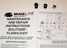 "Authentic ""AAA"" Mini Maglite Solitaire Switch Repair Assembly 108-000-085"