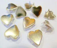 500 Nieten, Herzform, 9 x 9 mm Messing, Silber rostfrei, Dekoration, Textil